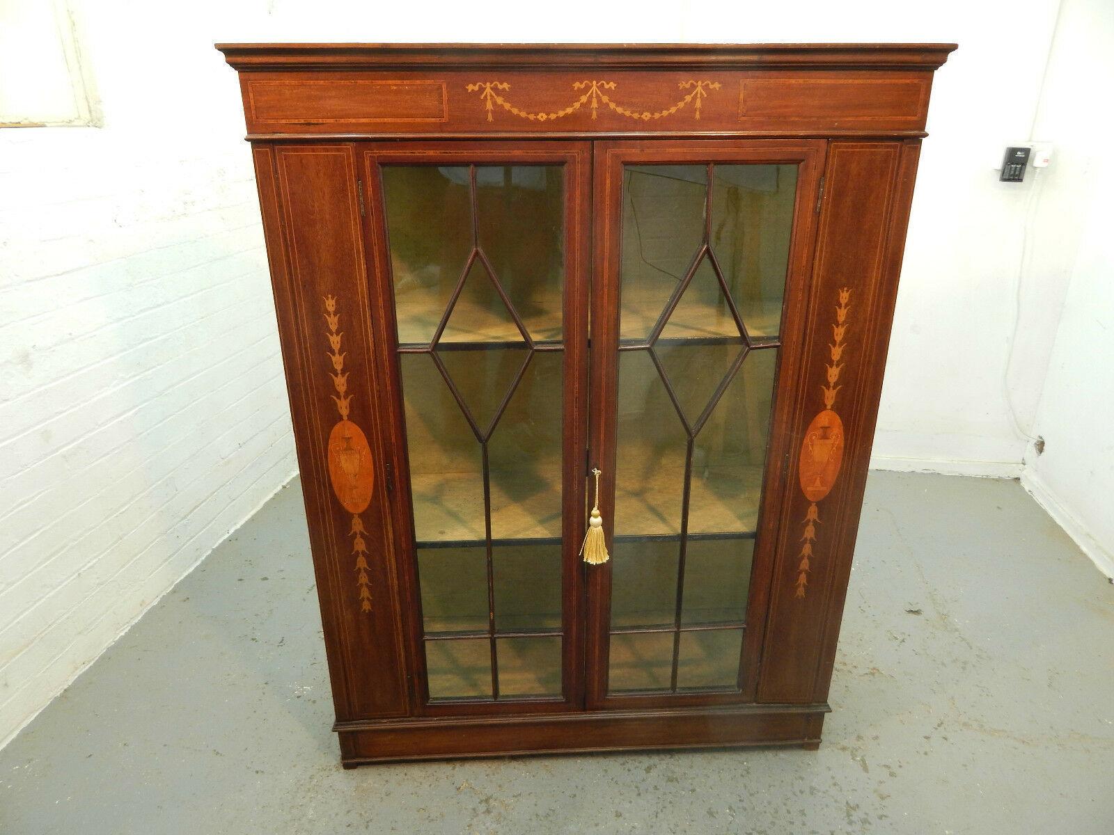 Antique Mahogany Bookcase Cabinet Inlaid Glazed Shelves 2 Door Glazed Sides Vinterior