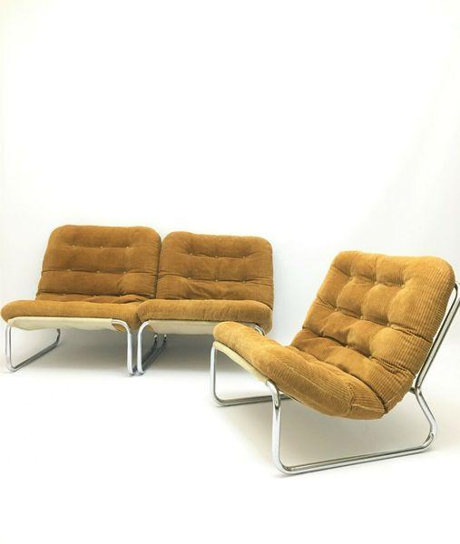 Astounding Vintage Retro Chrome Modular Sofa Chaise Longue Set Of 3 Pieff Style 1980 Onthecornerstone Fun Painted Chair Ideas Images Onthecornerstoneorg