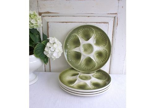 Set Of Four French Majolica Oyster Plates