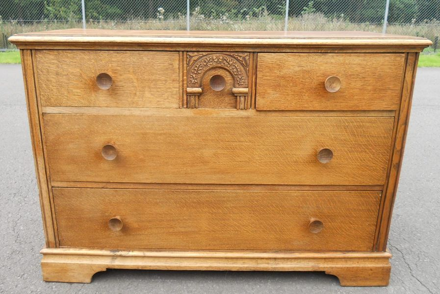 Oak Long Chest Of Drawers