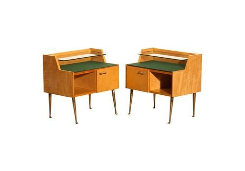 1950s italian set of two nightstands in maple with brass legs by paolo buffa