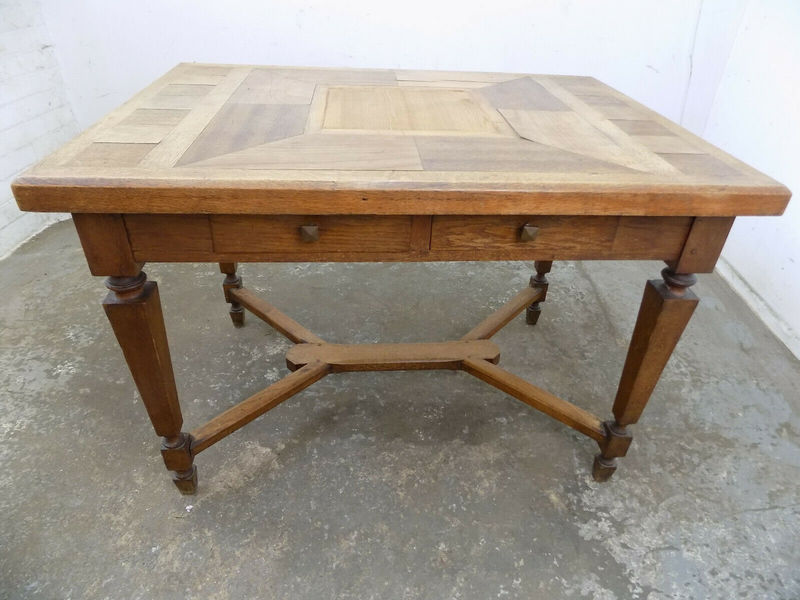 Art Crafs Antique Oak Table Square Legs Drawers Dining Table Marquetry Kitchen