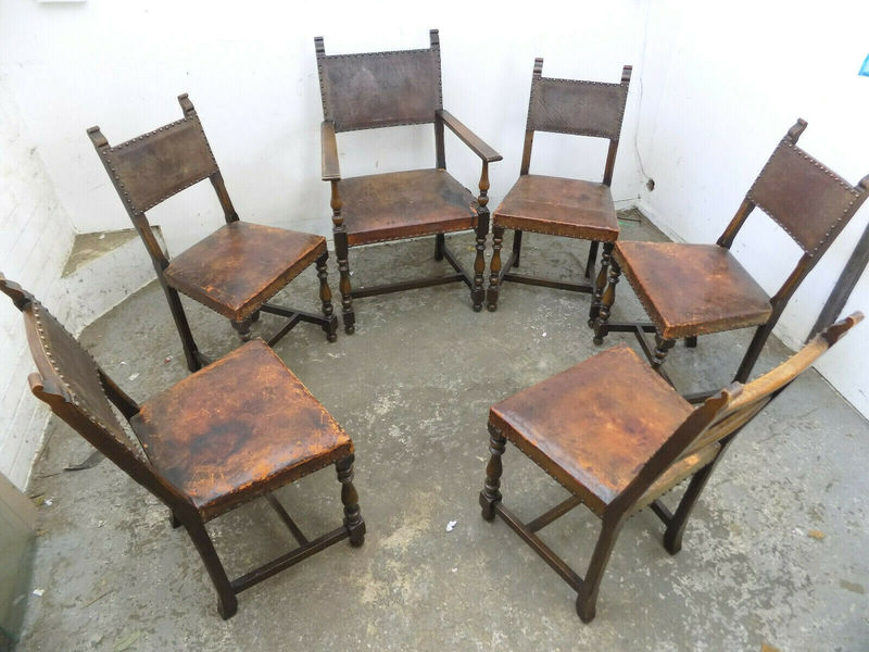 half off d884d 893d5 Six,Vintage,Oak,Dining Chairs,Leather Seats,Chairs,Carver,Dining  Room,Cottage