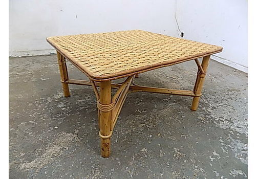 Pair Two Square Wicker Bamboo Table Side Tables End