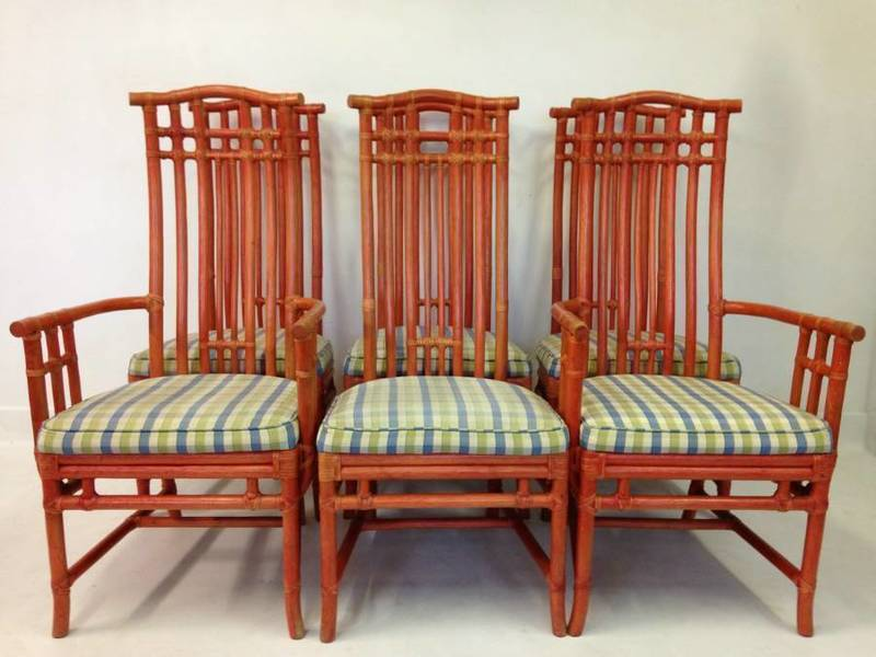 Red Painted Bamboo Dining Suite By Mcguire