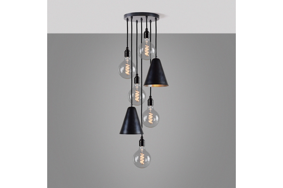 Multi Drop Cer Chandelier 5 Bronze Bare Bulb Pendants 2 Conical Lamp Shade Pendant Lights