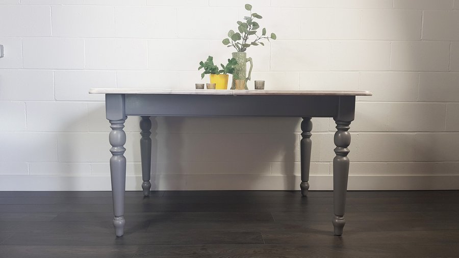 Painted English Farm House Dining Table Grey Refinished Delivery Uk & Europe