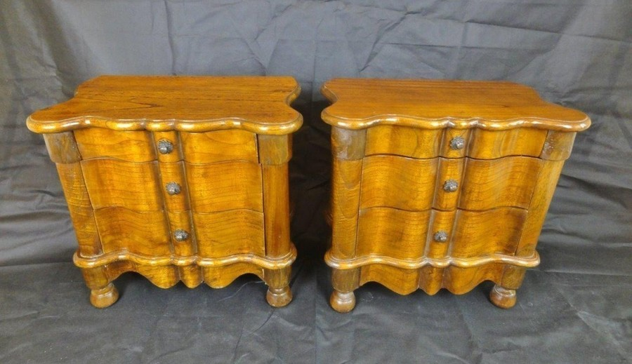 Pair Of French Art Deco Oak Three Drawer Bedside Cabinets