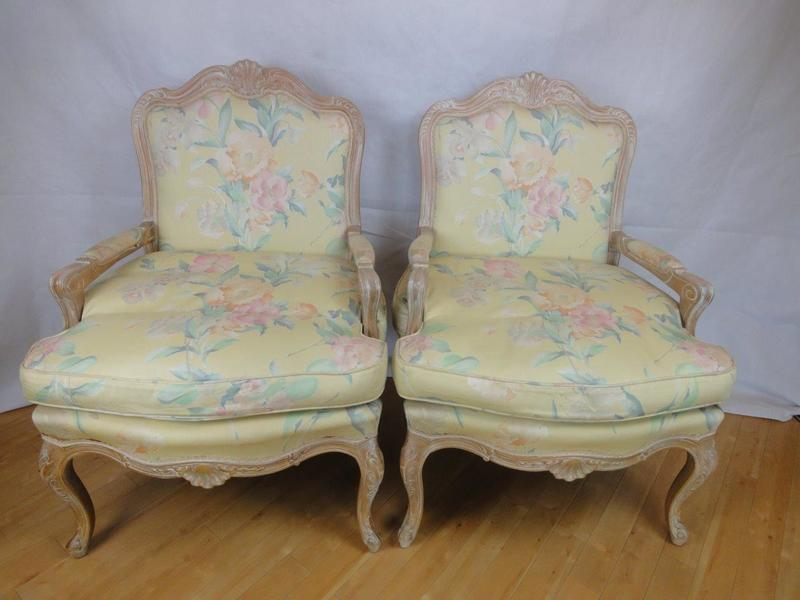 Pair Of Antique Style French Louis Limed Oak Armchairs With Floral Cotton Upholstery photo 1