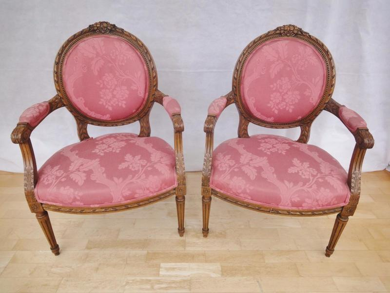 Pair Of Antique Style French Louis Xv Carved Mahogany Armchairs photo 1