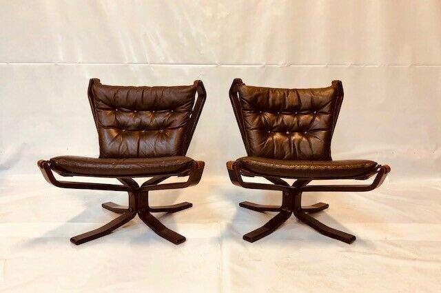 Mid Century Coco Leather Danish Falcon Chair Set 1960,S photo 1