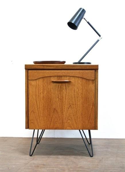 Vintage Teak Cabinet With Hairpin Legs