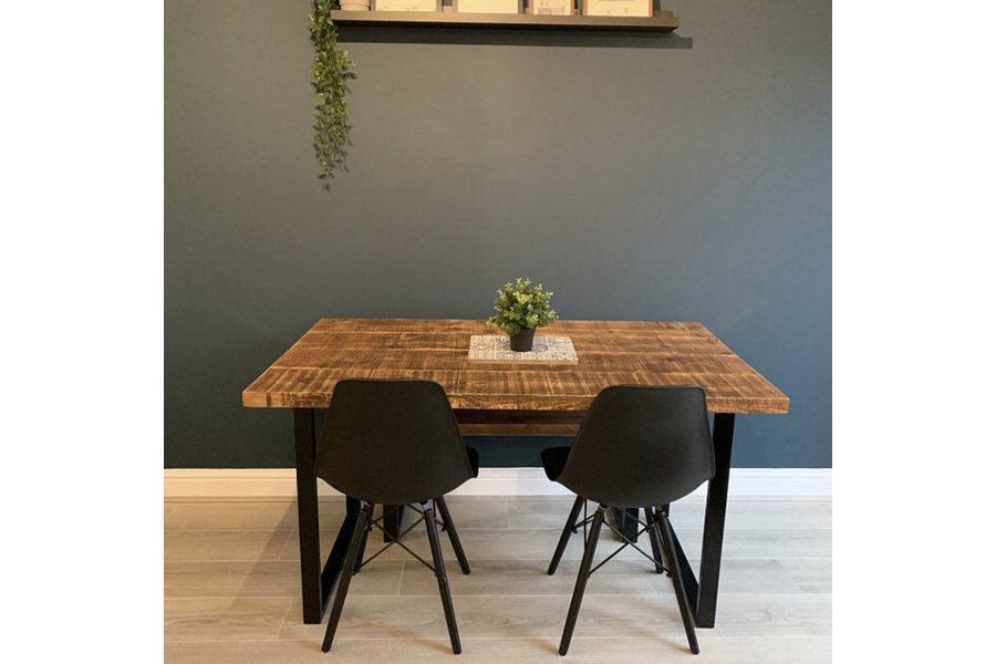 618fa39608 ... Table And Bench Package With Square Loop Legs, Rustic Reclaimed  Industrial Style Dining Table ...