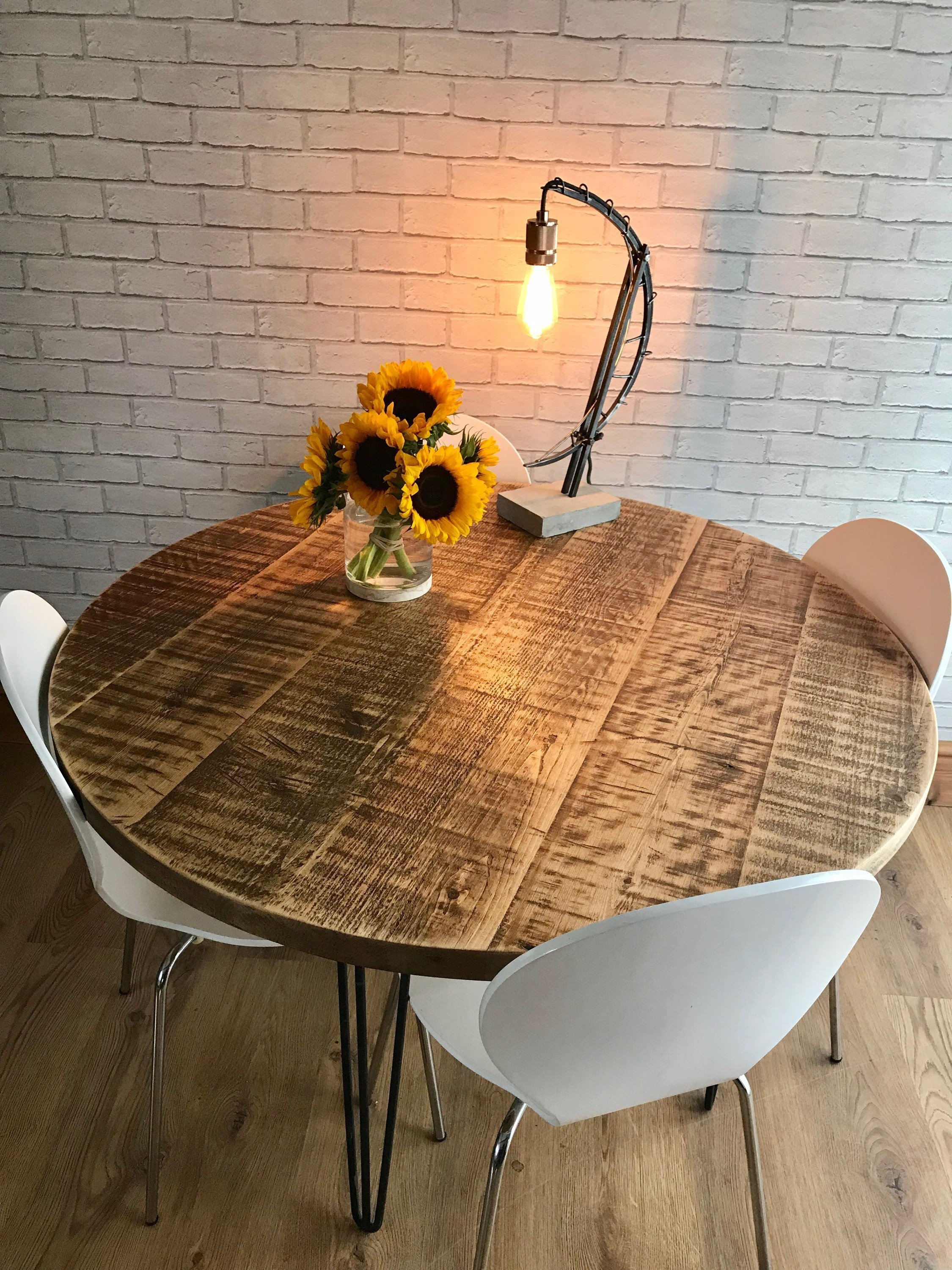 Round Table Orange.Round Rustic Industrial Hairpin Dining Table Fast Dispatch Times
