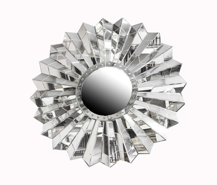 Circular Art Deco Style Sunburst Mirror