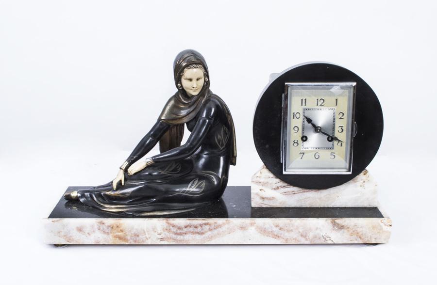 Antique Art Deco Lady Clock Set On Marble Base C1930 photo 1