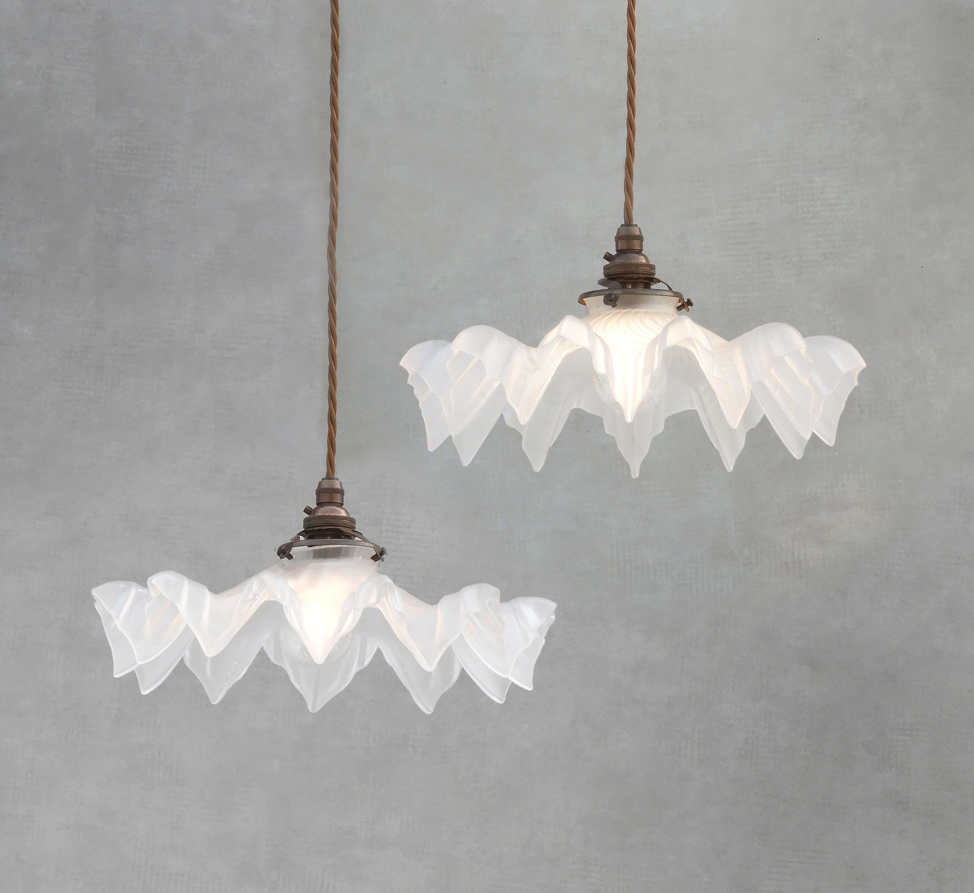 Vintage Pendant Lights Frosted Antique French Glass Lamp Shades Art Deco Circa 1930 Matched Pair