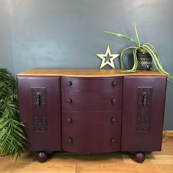 Vintage Pine Upcycled Shabby Chic Sideboard Art Deco Painted Brinjal
