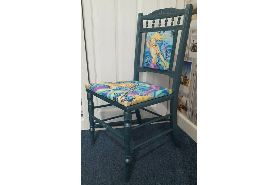 Beautiful Edwardian Carved Bedroom Chair Upcycled 'Mermaids'
