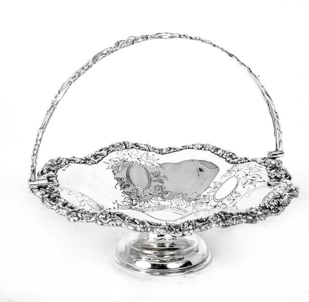 Antique Victorian Silver Plated Fruit Basket C 1880 photo 1