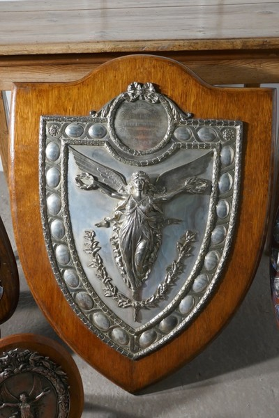 Large Arts And Crafts Shield Trophy With Nike The Goddess Of Victory