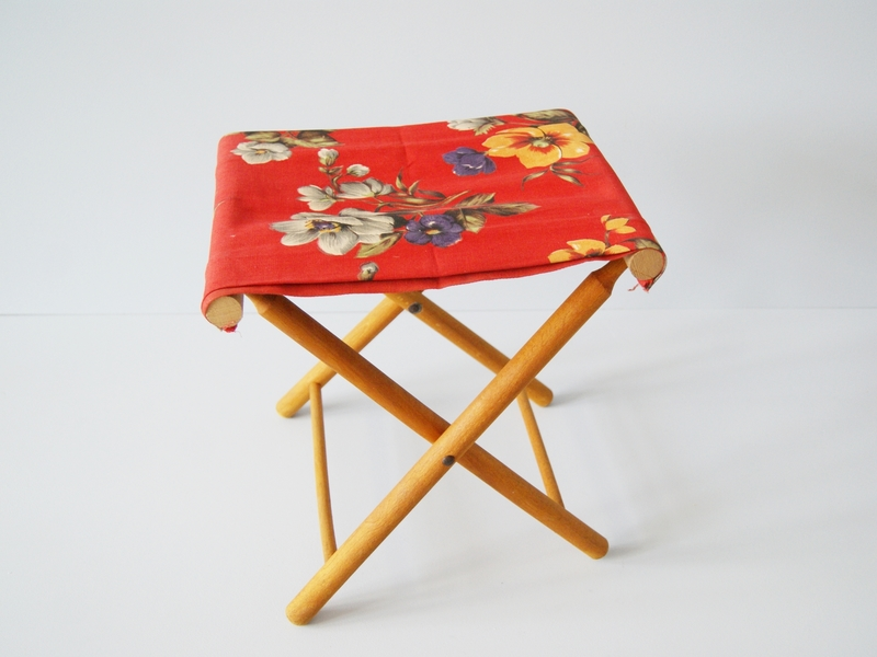 Awe Inspiring Folding Stool Wooden And Linen Folding Stool Camping Picnic Onthecornerstone Fun Painted Chair Ideas Images Onthecornerstoneorg