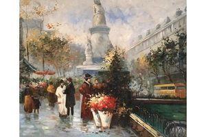Thumb french school paris flower market impressionist cityscape oil painting c 1970s 0