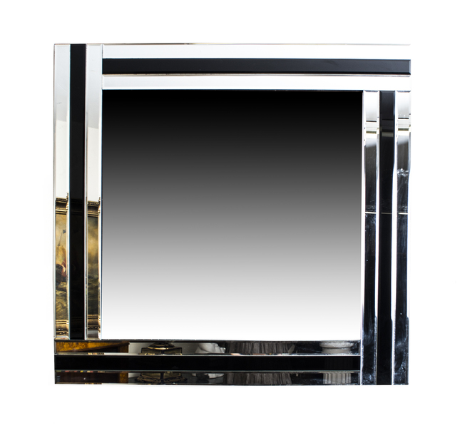 Cool And Chic Silver And Ebony Square Art Deco Mirror photo 1