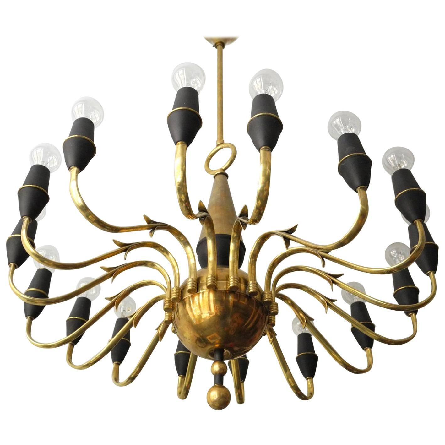 Mid Century Modern Brass Chandelier With 16 Sockets Made In Italy Vinterior