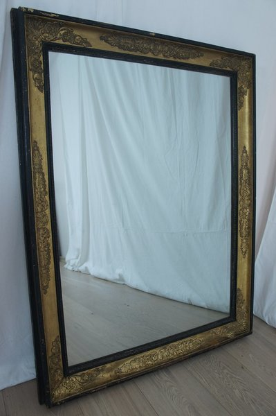Vintage Black And Gold Rectangular French Mirror