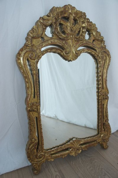 Decorative French Mirror Gold Leaf On Wood