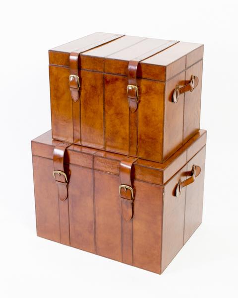 Set 2 English Tan Handmade Leather Cases Luggage photo 1