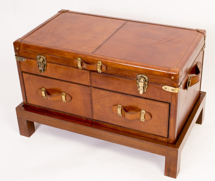 English Leather Campaign Trunk Coffee Table Luggage