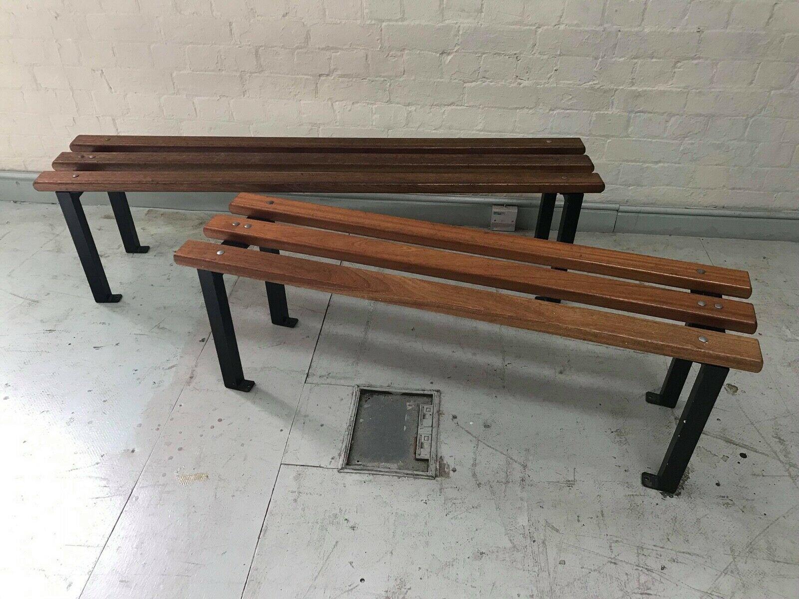 Pleasing Vintage Mid Century Teak Iroko Steel Slatted Gym Locker Room Bench Spiritservingveterans Wood Chair Design Ideas Spiritservingveteransorg