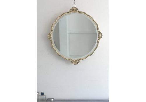 Vintage Retro 1950s Cream Metal Hall Round Mirror Hooks Wrought Iron Mid Century Other