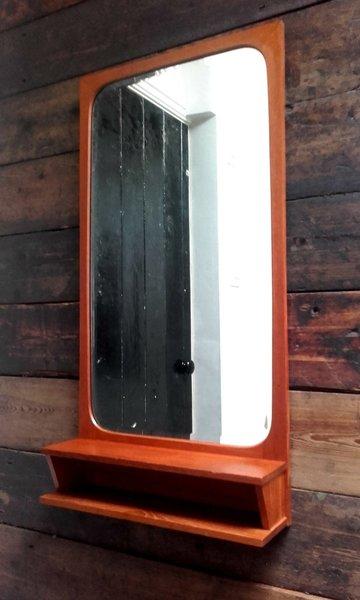 Danish Wall Mirror With Handy Shelf