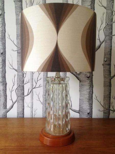 1950s Glass Lamp With Teak Base