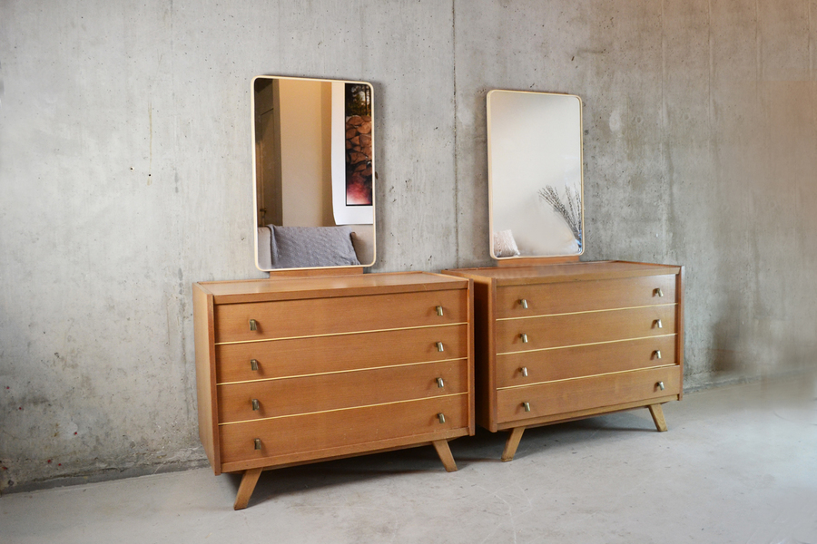 1970's Pair Of Belgian Dressing Room /Bedroom Chest Of Drawers With Mirror