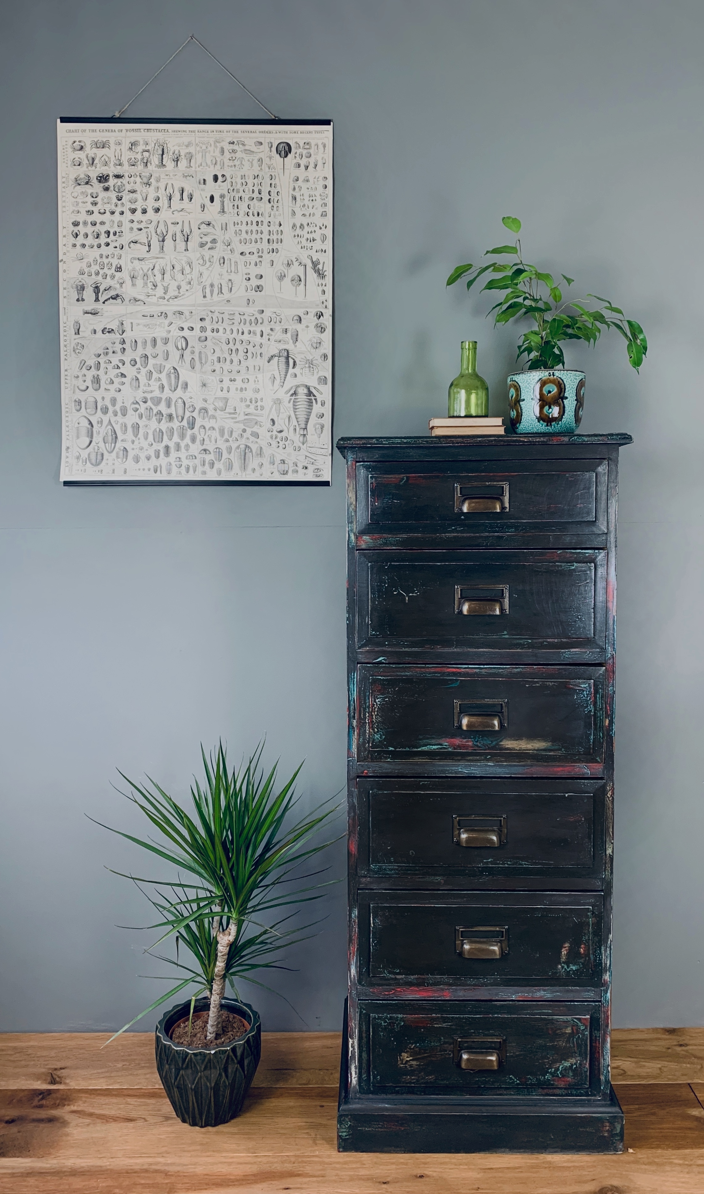 new concept 159ed 8132d Vintage Industrial Style Apothecary Cabinet Chest Of Tallboy Drawers  Painted Black