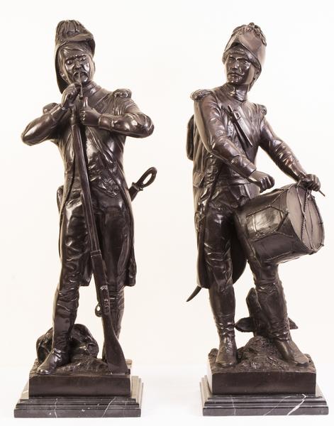 Pair Bronze Napoleonic Soldiers Drummer & Rifleman photo 1