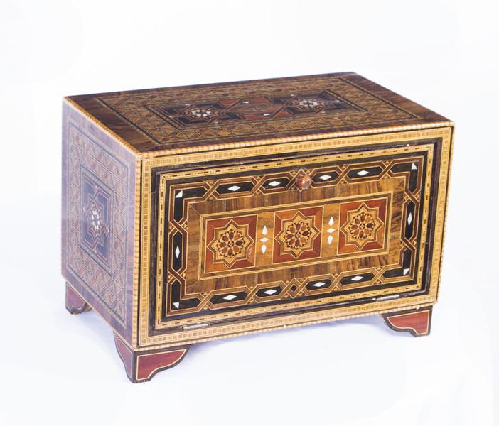 Antique Inlaid Damascus Islamic Table Cabinet