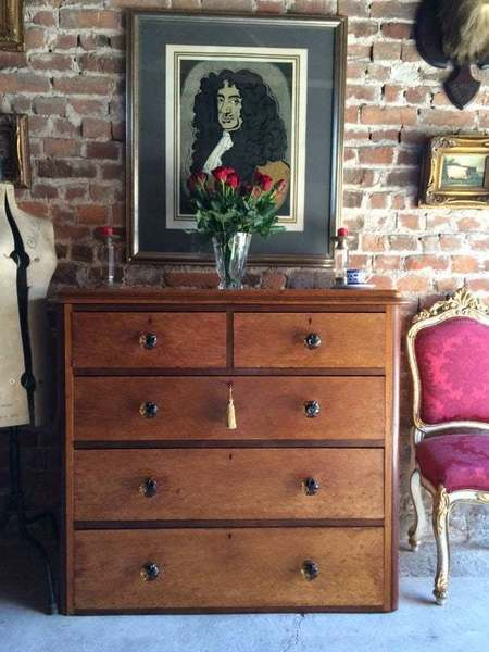 Antique Maple Chest Of Drawers Victorian 19th Century