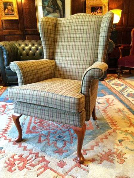 Antique Style S Rouse & Co Mahogany Wingback Armchair Beige photo 1