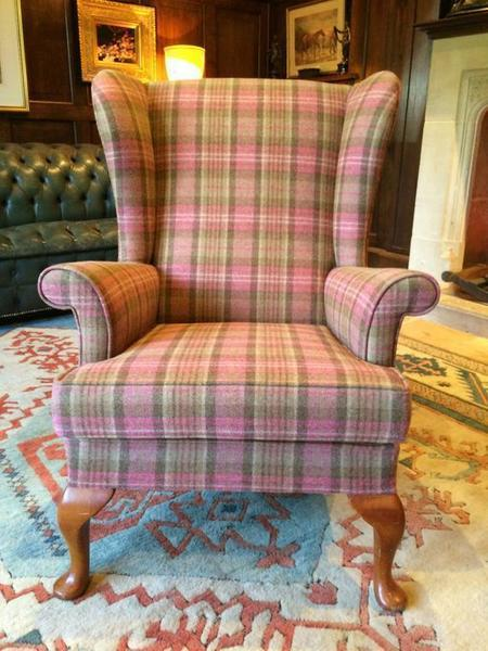Antique Style S Rouse & Co Mahogany Wingback Armchair Pink photo 1