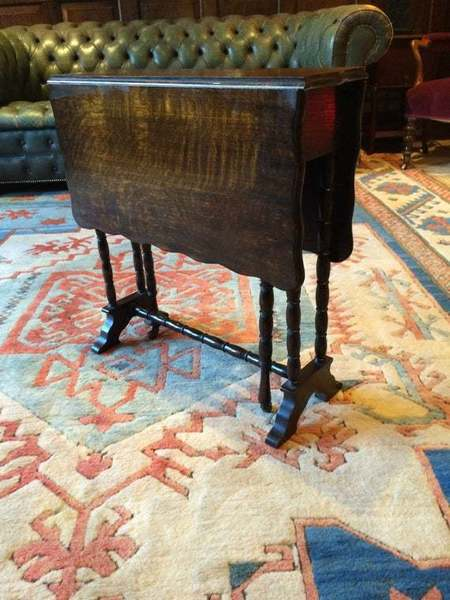 Antique Mahogany Drop Leaf Side Table 19th Century