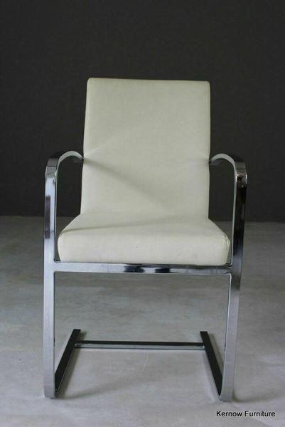 Terrific Single Modern Deco Style Retro Cream Chrome Cantilever Dining Office Chair Dailytribune Chair Design For Home Dailytribuneorg