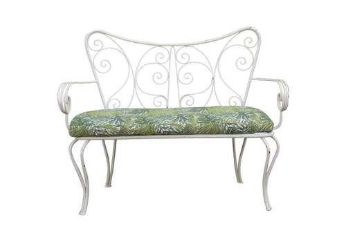 White Garden Sofa Mid Century Worked Shaped Green Metal Cushion 1950s