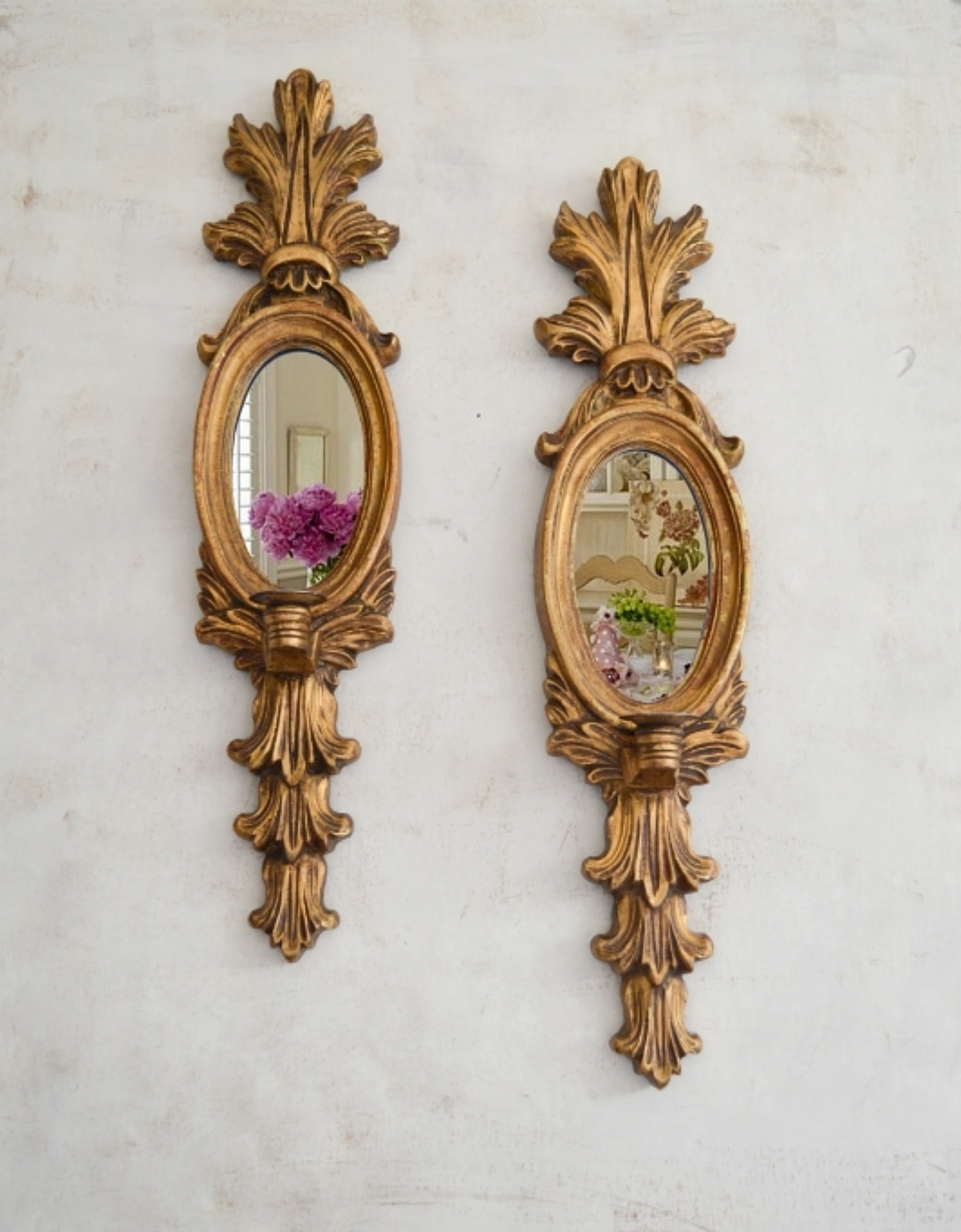 Large French Pair Mirror Candle Candelabra Wall Sconces Antique Brocante Wall Scone Wall Candle Holder Ornate Shabby Chic Light Vinterior
