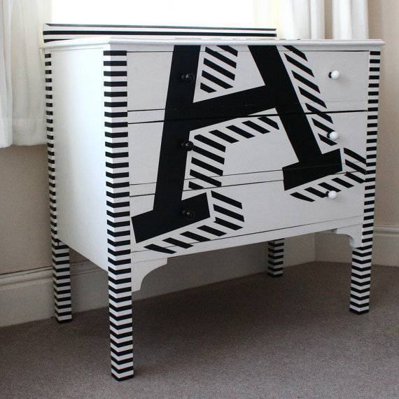 Upcycled Chest Of Drawers With Typography Decoration