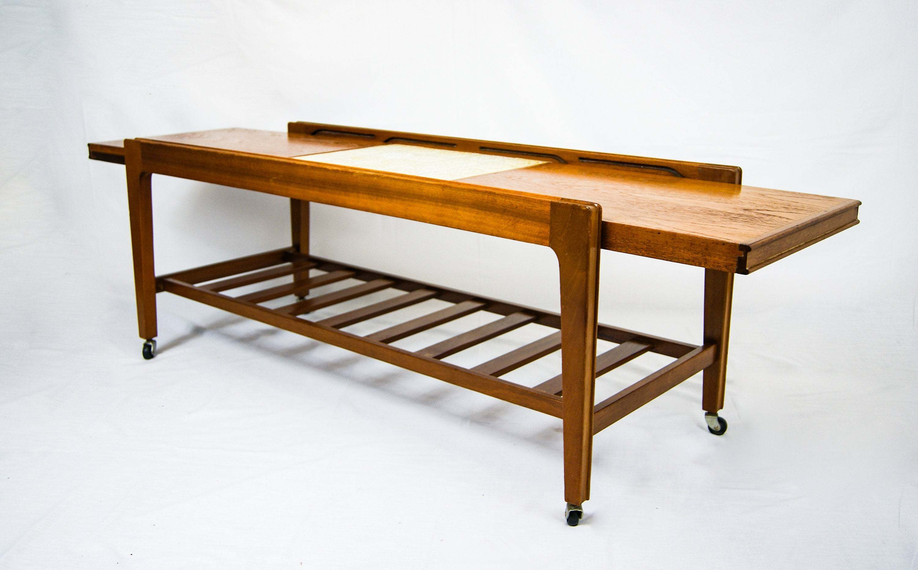 Coffee Table Extendable Top.Mid Century Design Remploy Tiled Top Teak Wood Extendable Two Tier Coffee Table On Castor Wheels